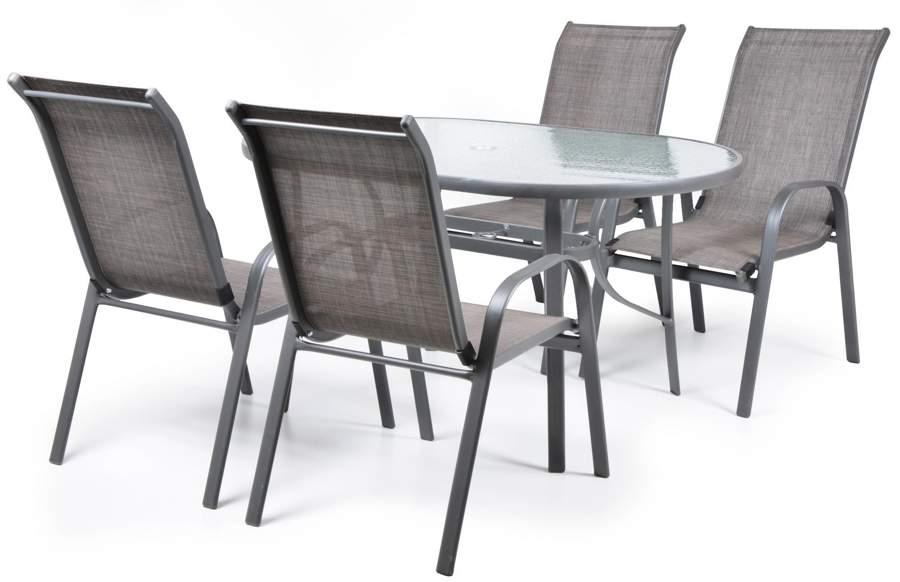 Hecht Ekonomy Set 6 Meble Ogrodowe Zestaw Mebli Ogrodowych Stół + 6 Krzeseł Stal Aluminium Szkło