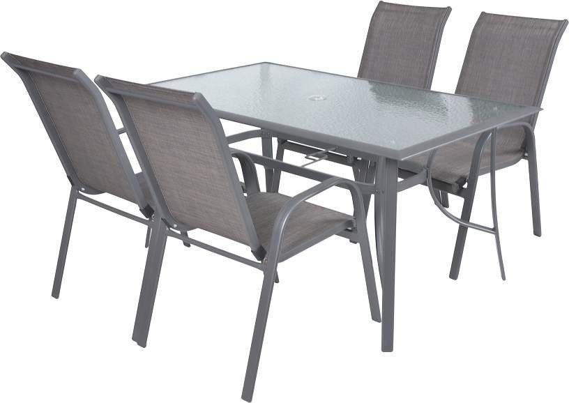 Hecht Sofia Set 4 Meble Ogrodowe Zestaw Mebli Ogrodowych Stół 4 Krzesła Aluminium Szkło Ewimax Oficjalny Dystrybutor Autoryzowany Dealer Hecht